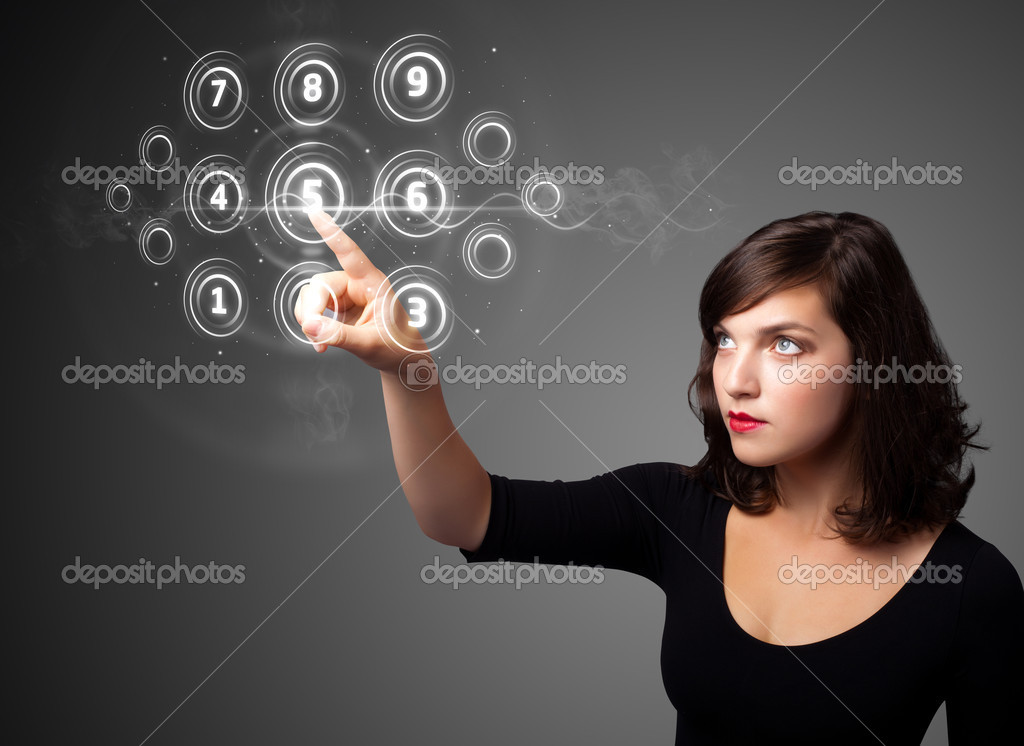Businesswoman pressing high tech type of modern buttons on a virtual background — Lizenzfreies Foto #6862029