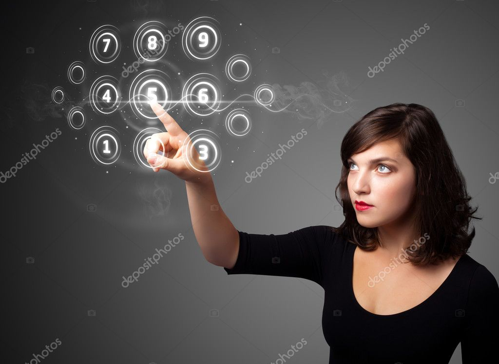Businesswoman pressing high tech type of modern buttons on a virtual background  Foto Stock #6862029