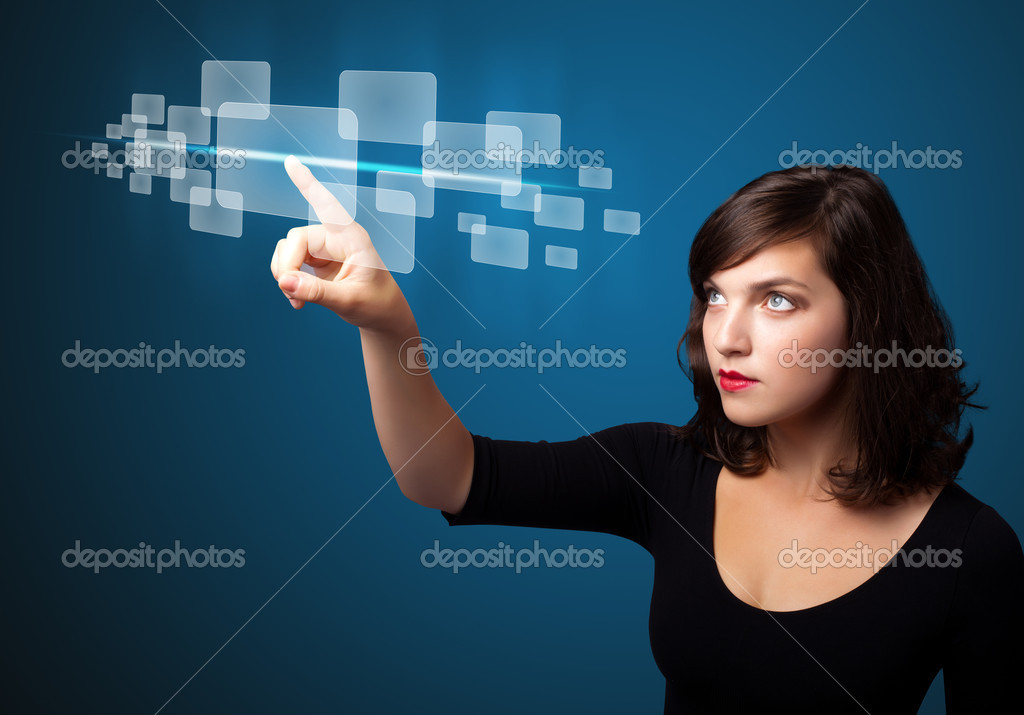 Businesswoman pressing high tech type of modern buttons on a virtual background  Stock Photo #6862041