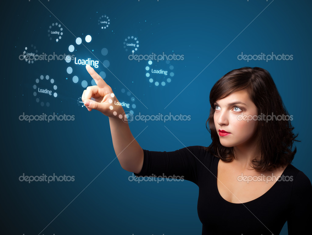 Businesswoman pressing simple start buttons on a virtual background  Stock Photo #6862089