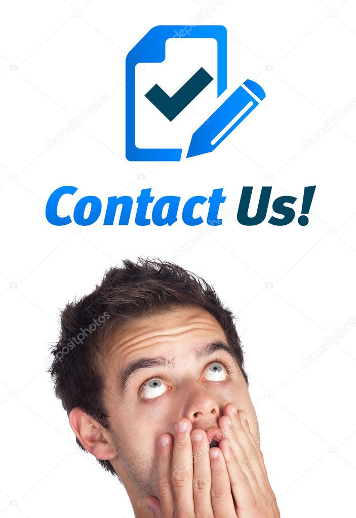 Young persons head looking with gesture at support contact type of icons and signs — Stock Photo #6862516