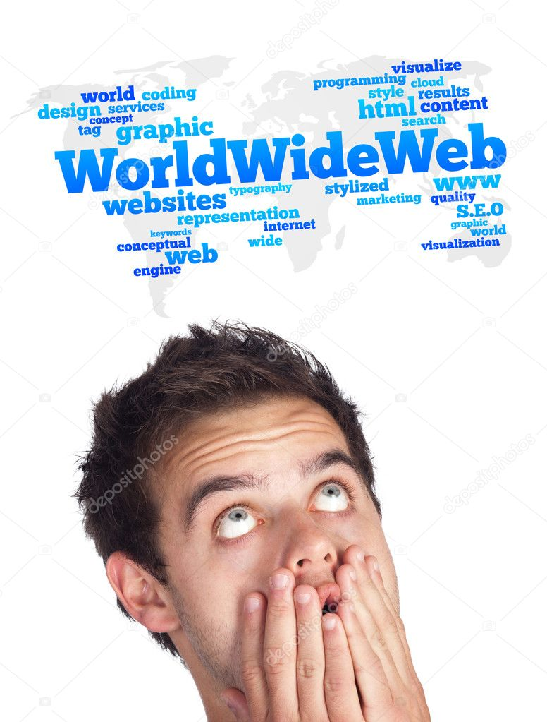 Young persons head looking with gesture at internet type of icons — Stock Photo #6862517