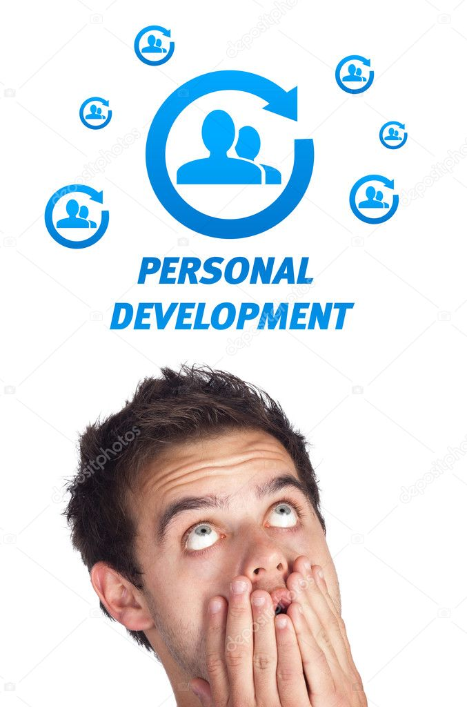 Young persons head looking with gesture at labor type of icons — Stock Photo #6862521