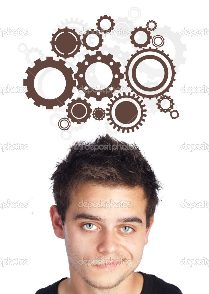 Young persons head looking with gesture at idea type of sign — Stock Photo #6862533