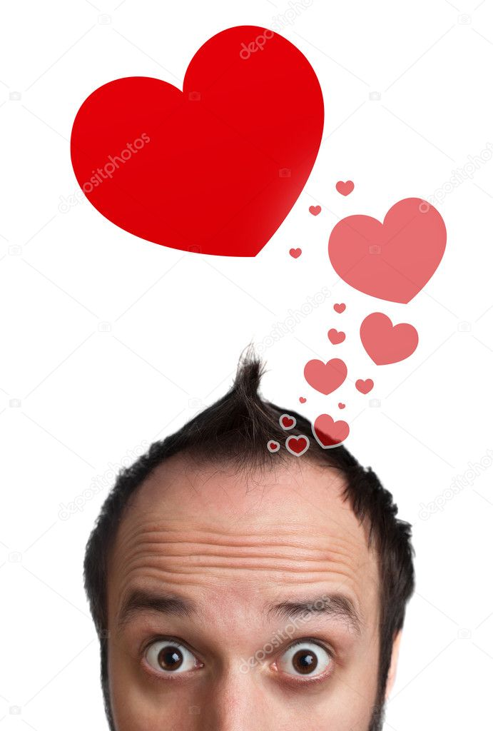 Young persons head looking with gesture at love signs — Stock Photo #6862560