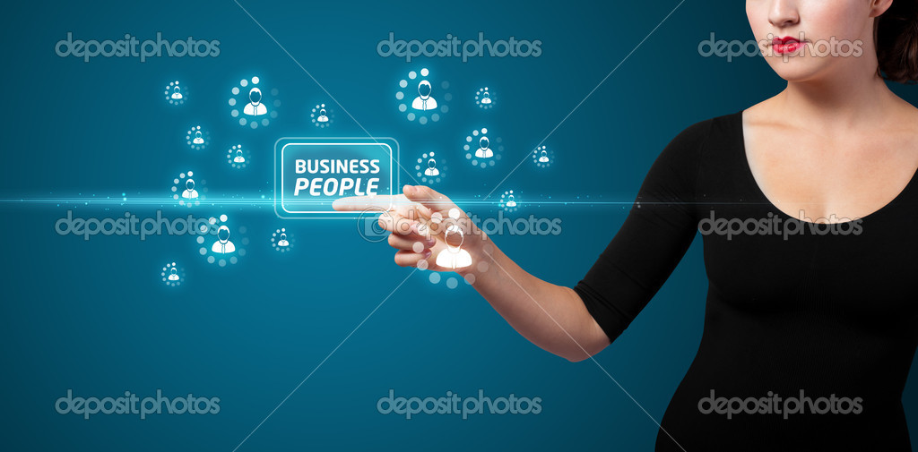 Businesswoman pressing business type of modern buttons with virtual background — Stock Photo #6862737