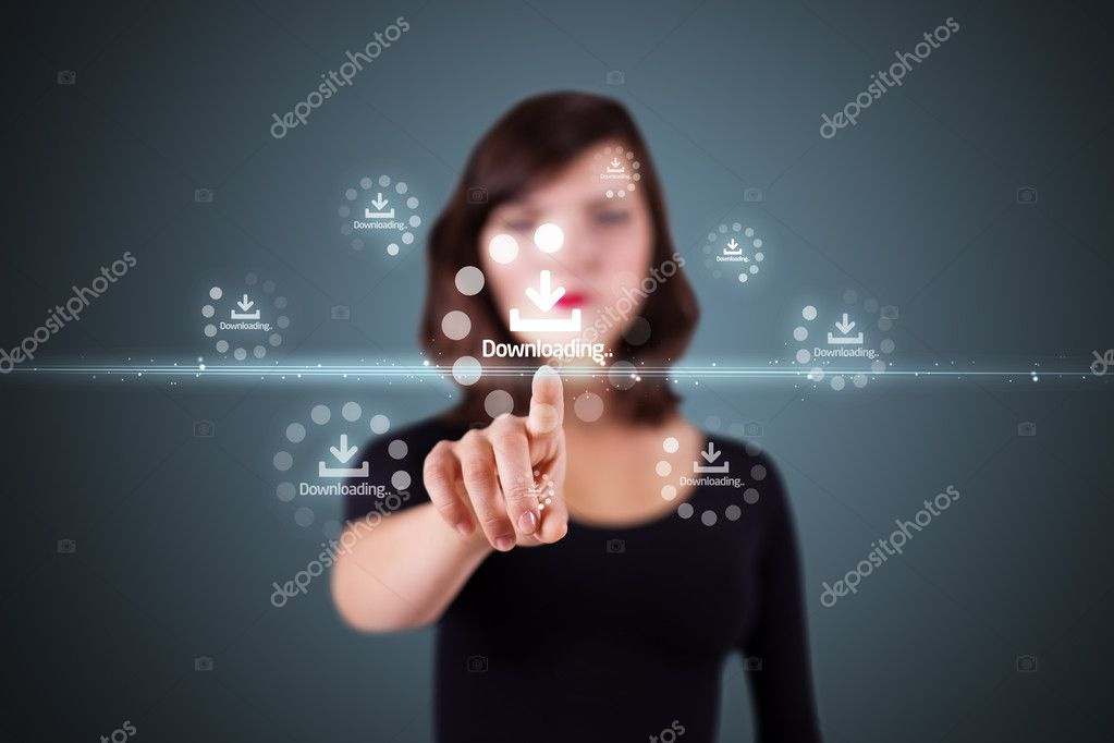 Businesswoman pressing high tech type of modern buttons on a virtual background — Stock Photo #6863117