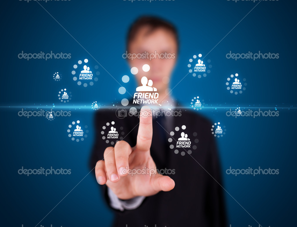 Businessman pressing modern social buttons on a virtual background — Stock Photo #6864067