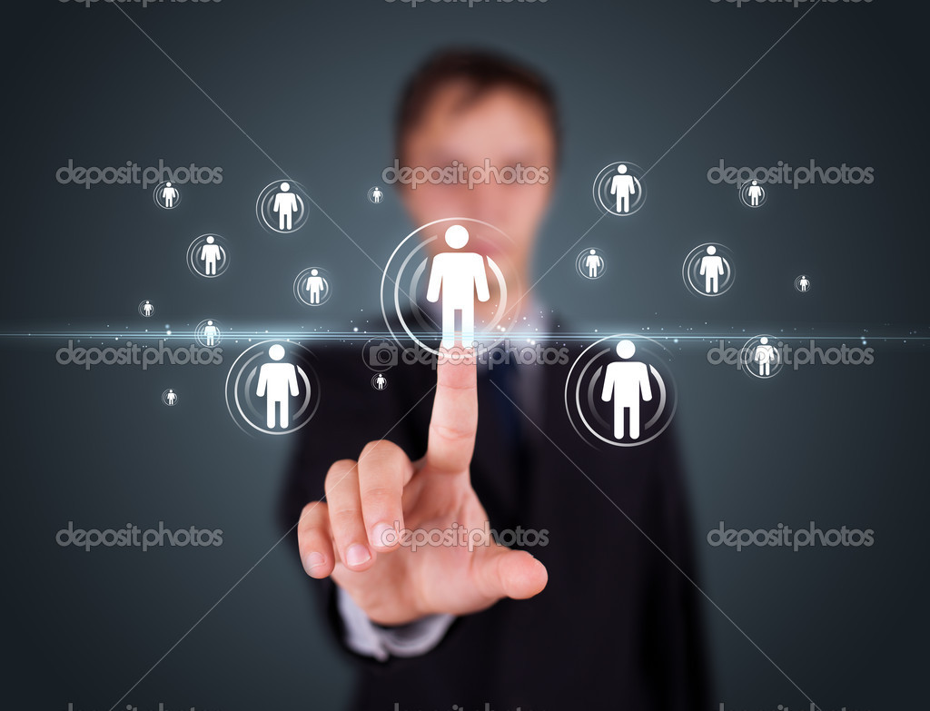 Businessman pressing modern social buttons on a virtual background — Stock Photo #6864069