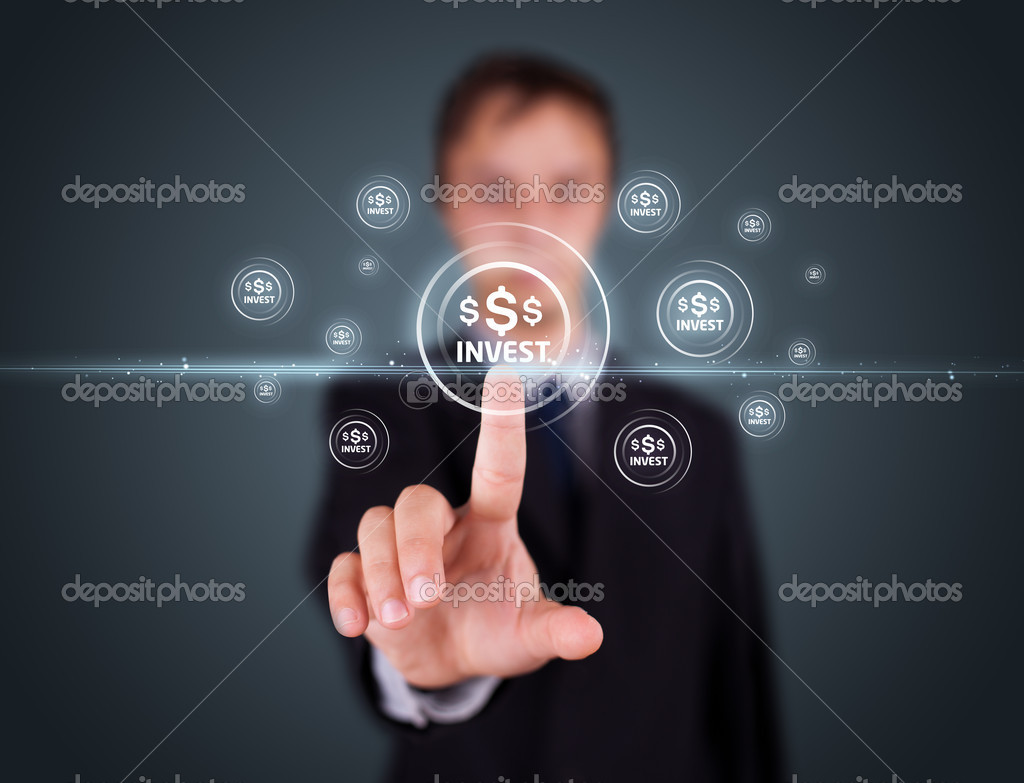 Businessman pressing business type of modern buttons with virtual background — Stock Photo #6864077