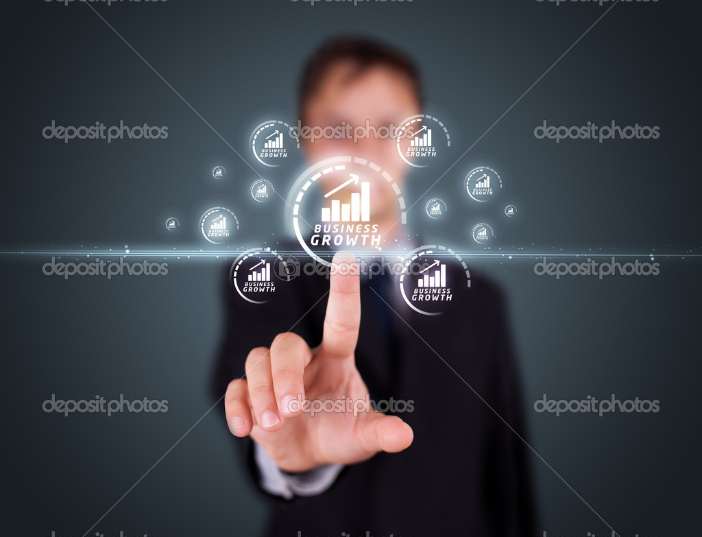 Businessman pressing business type of modern buttons with virtual background — Stock Photo #6864096