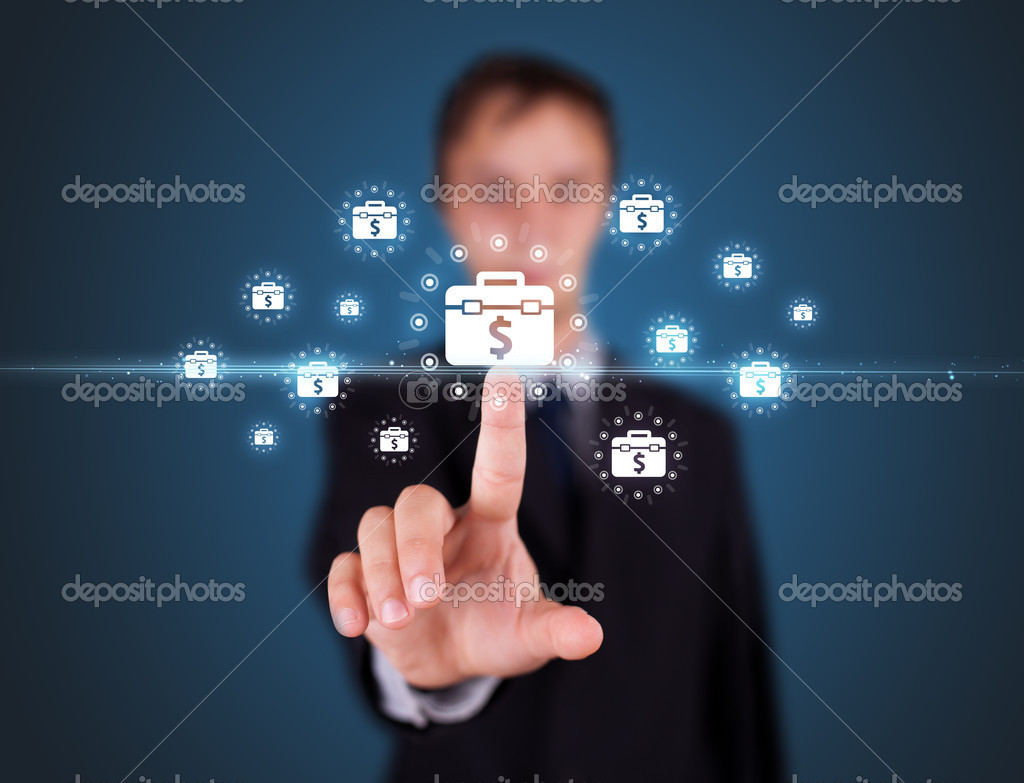 Businessman pressing business type of modern buttons with virtual background  Stock Photo #6864107