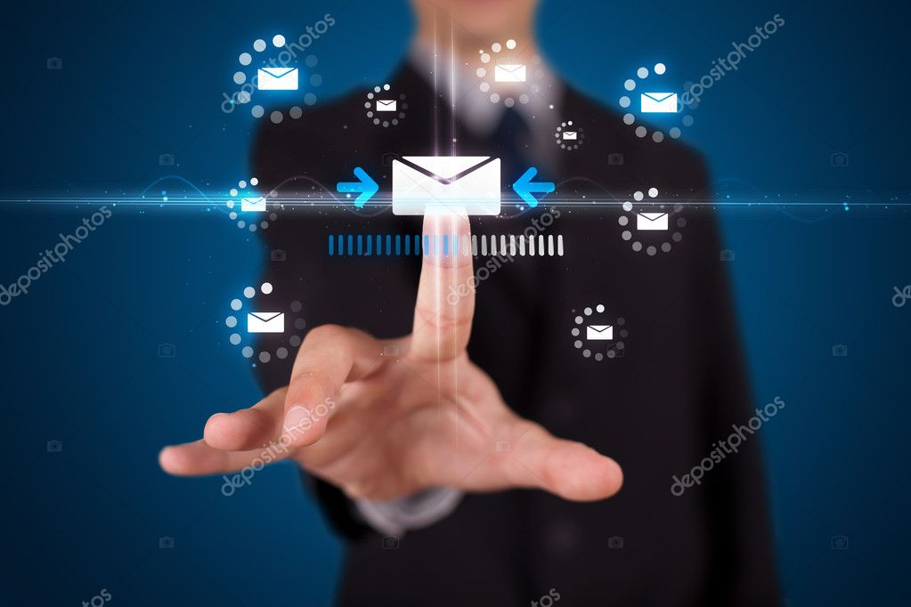 Businessman pressing messaging type of modern icons with virtual background — Stock Photo #6864281