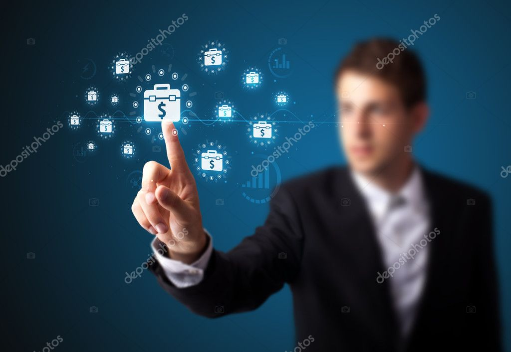 Businessman pressing business type of modern buttons with virtual background — Stock Photo #6864485
