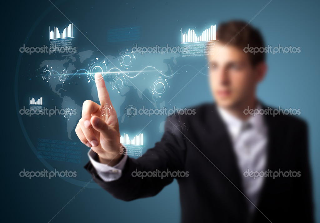 Businessman pressing high tech type of modern buttons on a virtual background — Stock Photo #6864512