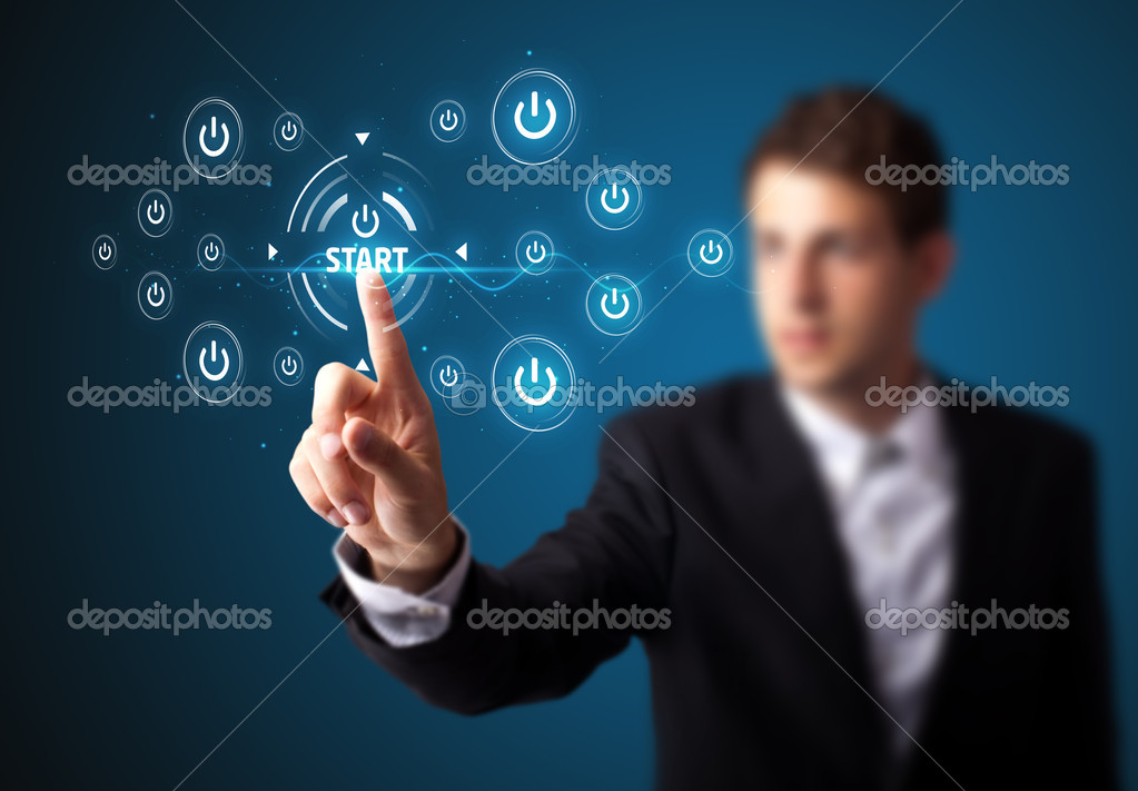 Businessman pressing simple start buttons on a virtual background — 图库照片 #6864522