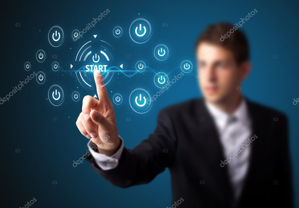 Businessman pressing simple start buttons on a virtual background — Lizenzfreies Foto #6864522