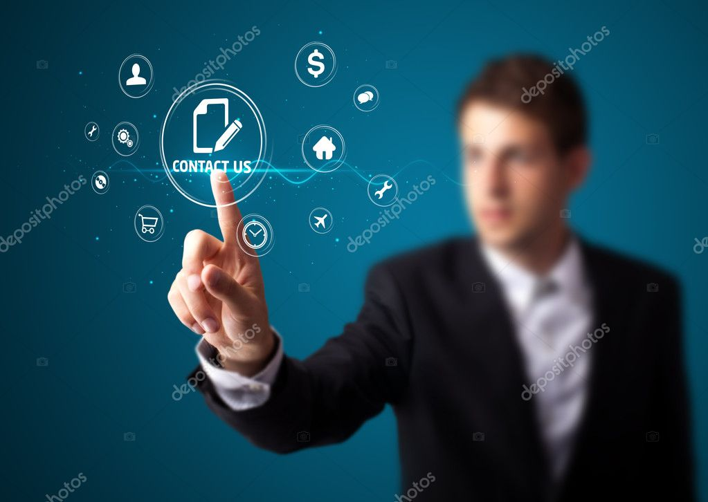 Businessman pressing messaging type of modern icons with virtual background — Stock Photo #6864529