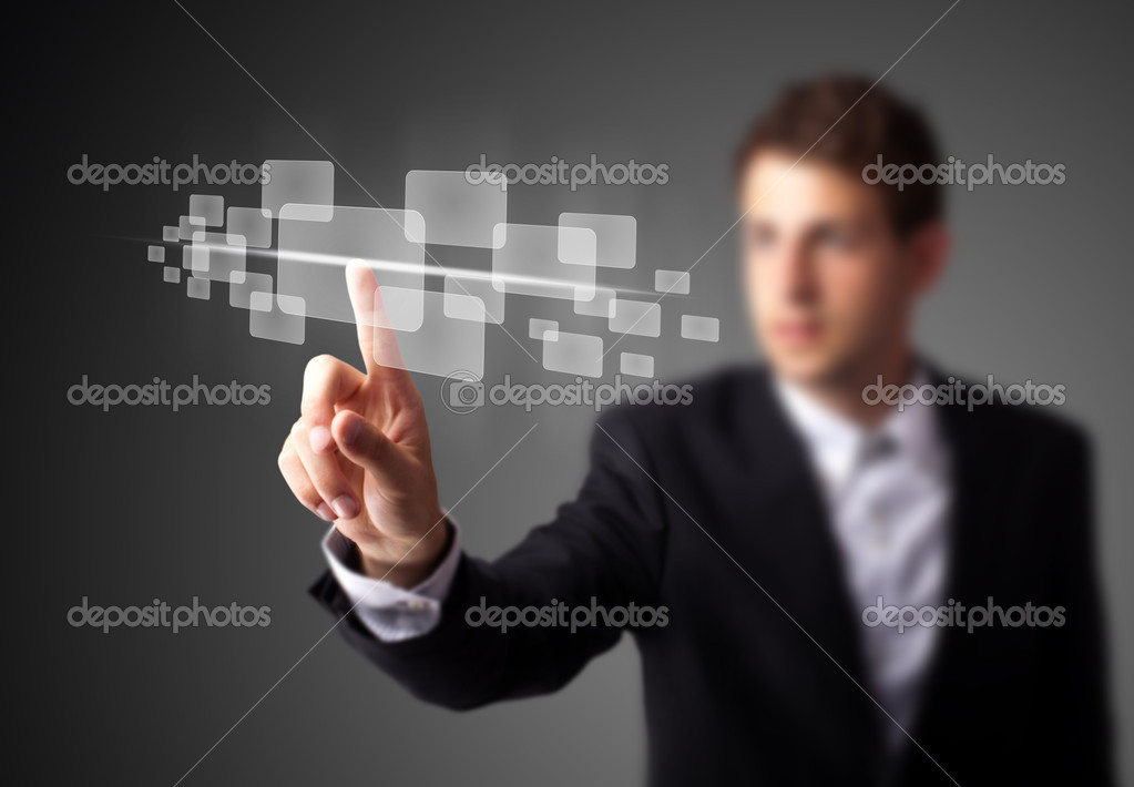 Businessman pressing high tech type of modern buttons on a virtual background — Stock Photo #6864538