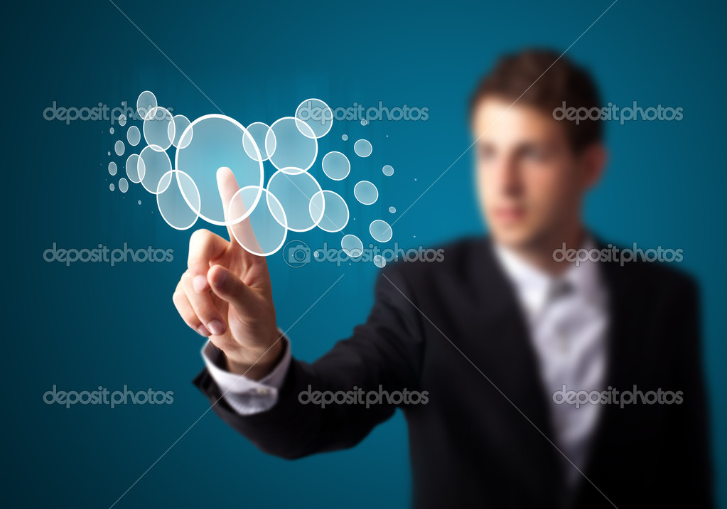 Businessman pressing high tech type of modern buttons on a virtual background — Stock Photo #6864546