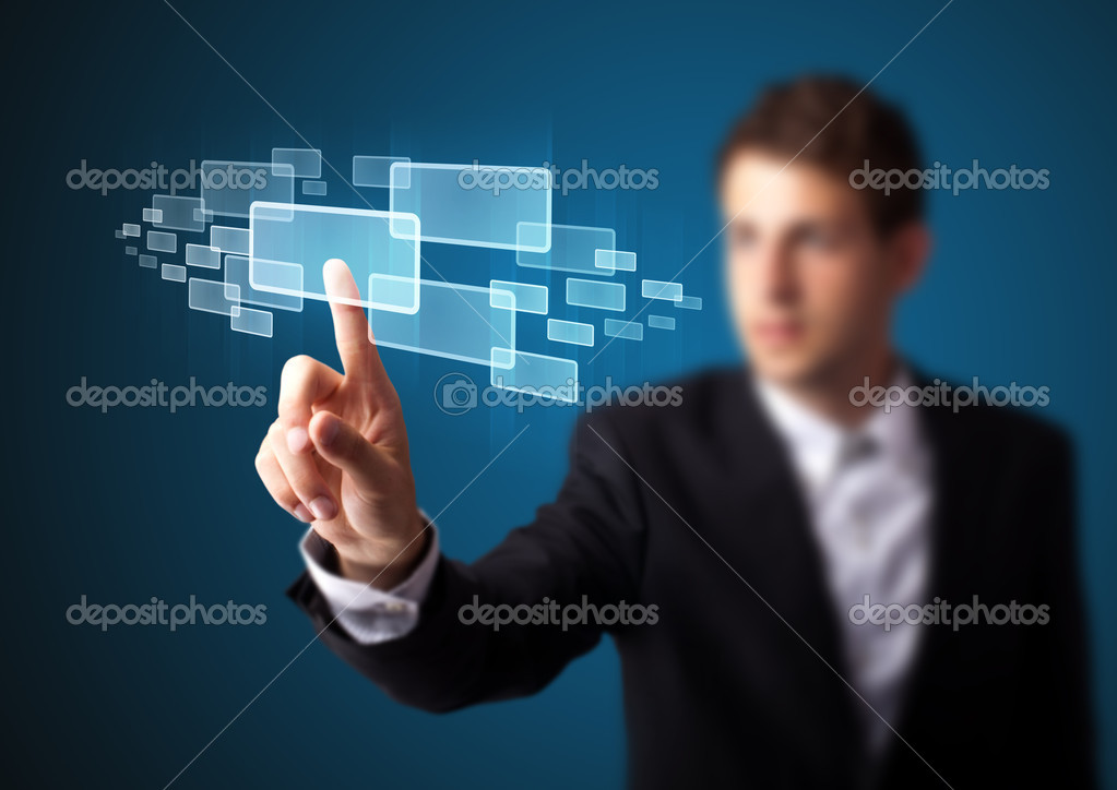 Businessman pressing high tech type of modern buttons on a virtual background — Stock Photo #6864558