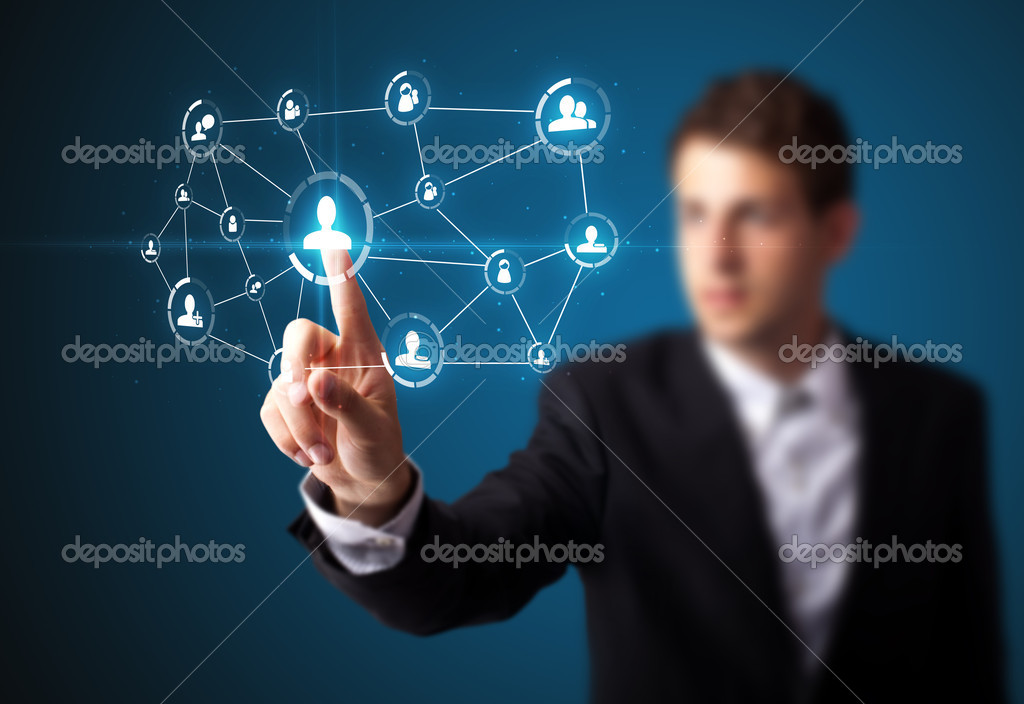 Businessman pressing modern social buttons on a virtual background — Stock Photo #6864611