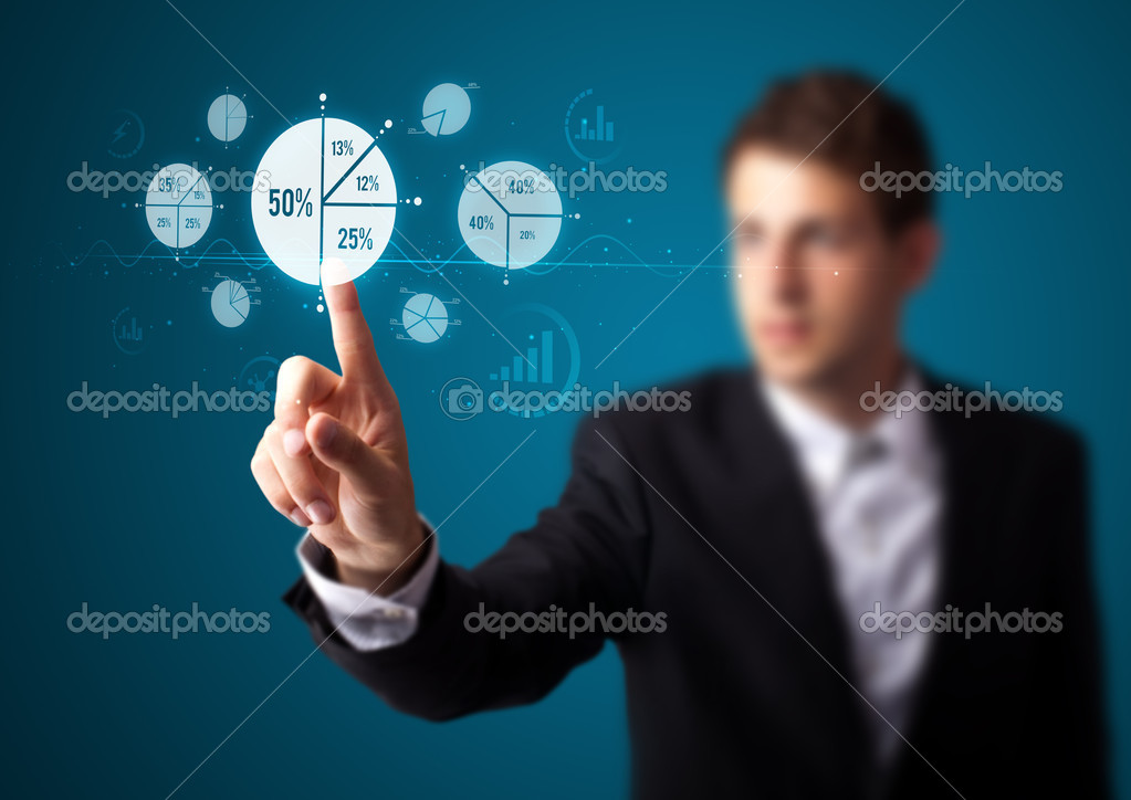 Businessman pressing business type of modern buttons with virtual background — Stock Photo #6864651