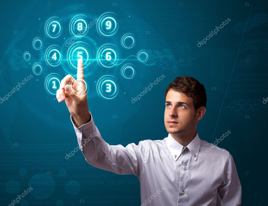Businessman pressing high tech type of modern buttons on a virtual background — Stock Photo #6864669