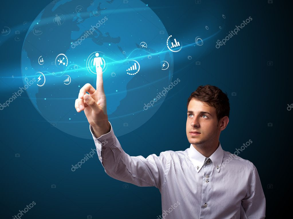 Businessman pressing modern social buttons on a virtual background — Stock Photo #6864671