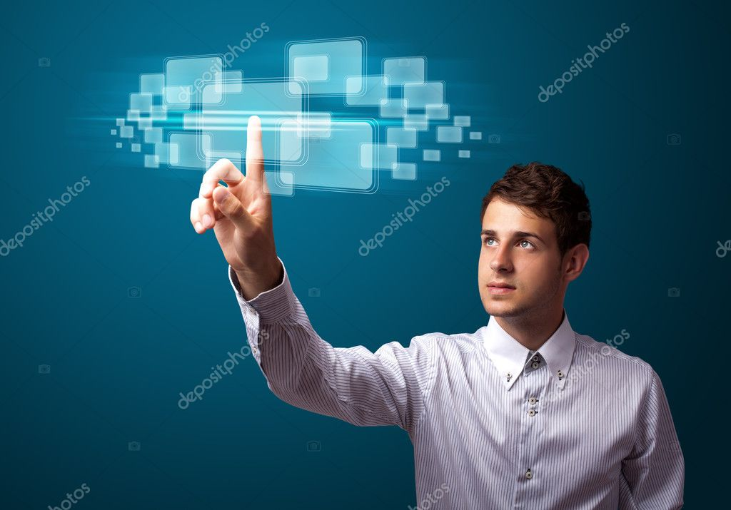 Businessman pressing high tech type of modern buttons on a virtual background — Stock Photo #6864708