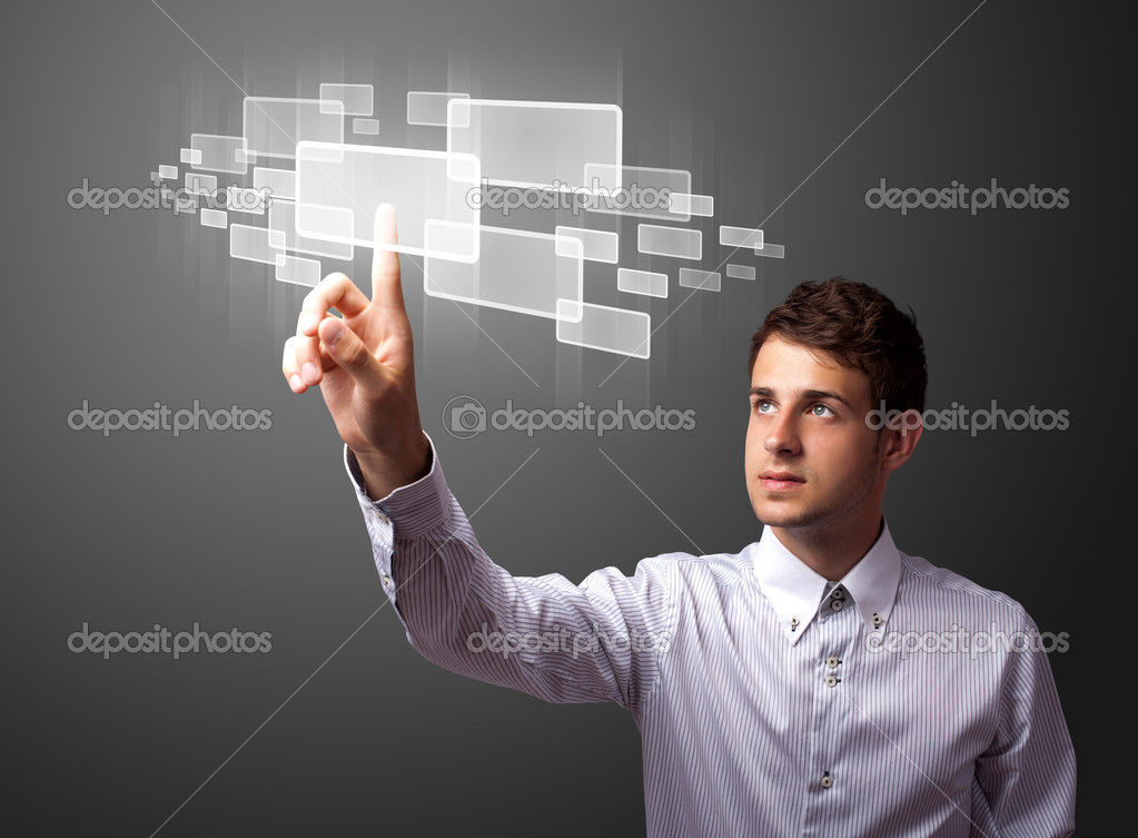 Businessman pressing high tech type of modern buttons on a virtual background — Lizenzfreies Foto #6864714