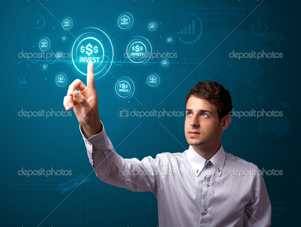 Businessman pressing business type of modern buttons with virtual background  Stock Photo #6864739