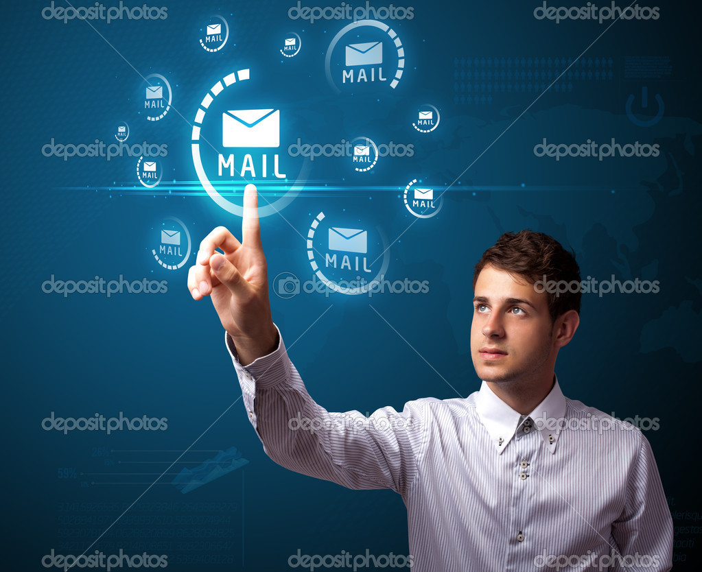 Businessman pressing messaging type of modern icons with virtual background — Stock Photo #6864745