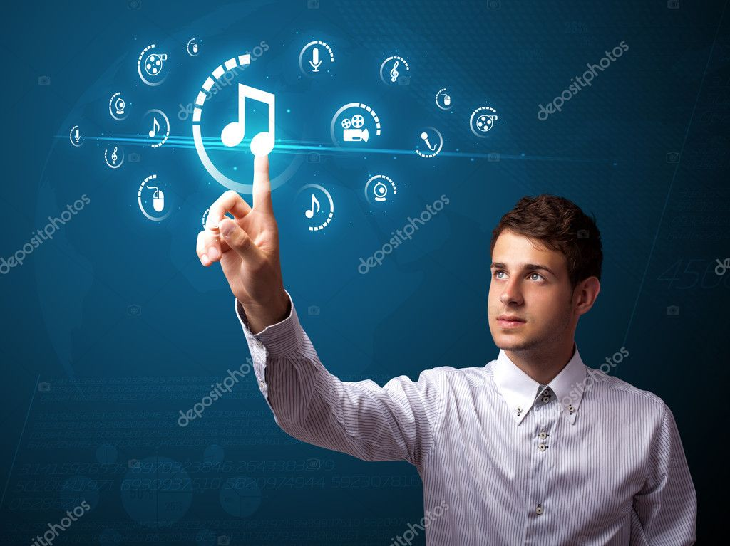 Businessman pressing multimedia type of modern buttons with virtual background — Stock Photo #6864759
