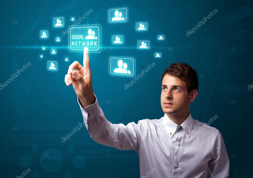 Businessman pressing modern social buttons on a virtual background — Stock Photo #6864803