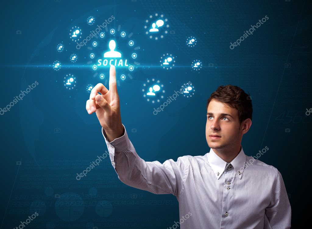 Businessman pressing modern social buttons on a virtual background — Stock Photo #6864819