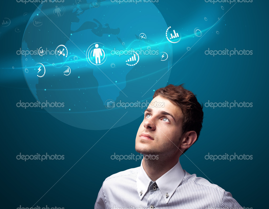 Businessman pressing modern social buttons on a virtual background — Stock Photo #6865148