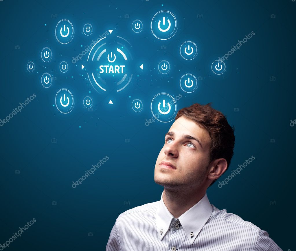 Businessman pressing simple start buttons on a virtual background — Stock Photo #6865164
