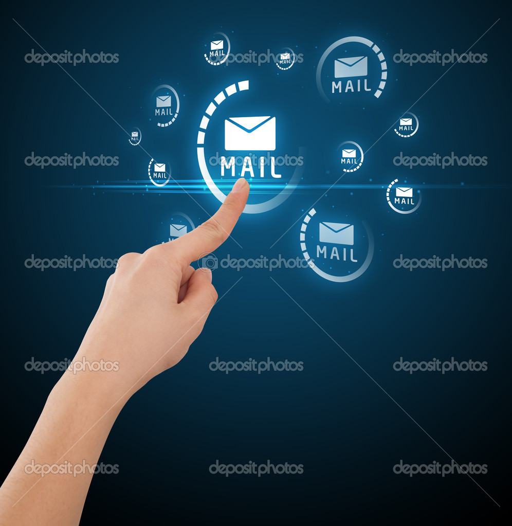 Businessman pressing messaging type of modern icons with virtual background — Stock Photo #6866560