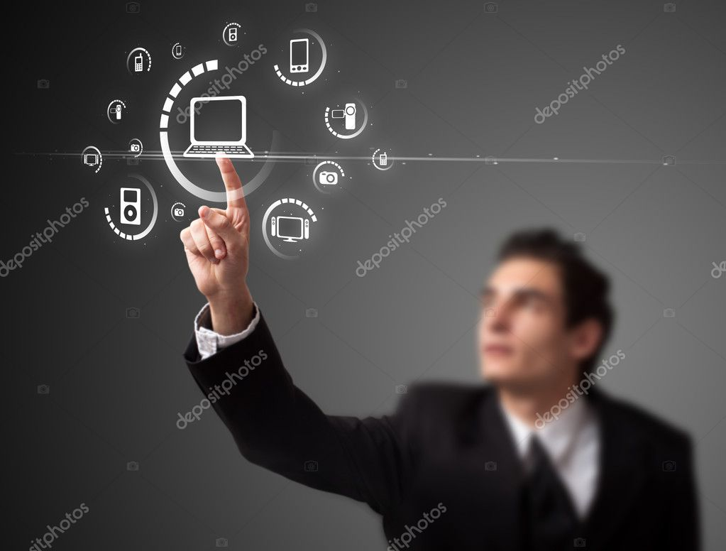 Businessman pressing multimedia type of modern buttons with virtual background — Stock Photo #6866676