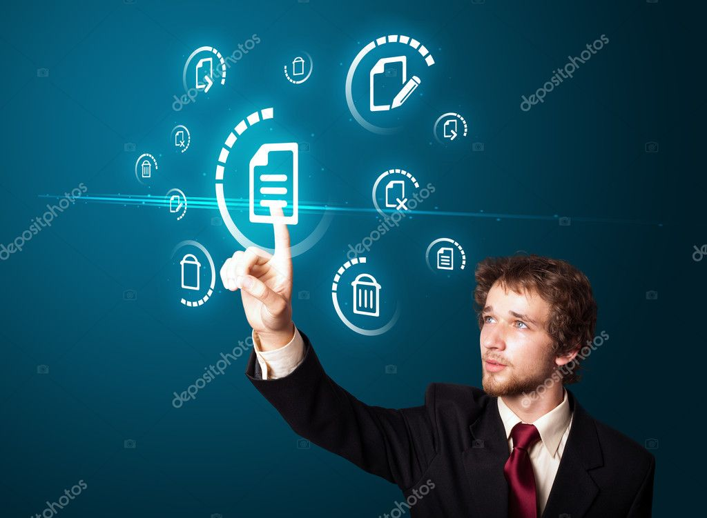 Businessman pressing business type of modern buttons with virtual background — Stockfoto #6866793