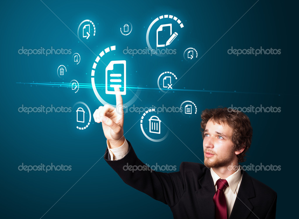 Businessman pressing business type of modern buttons with virtual background — 图库照片 #6866793