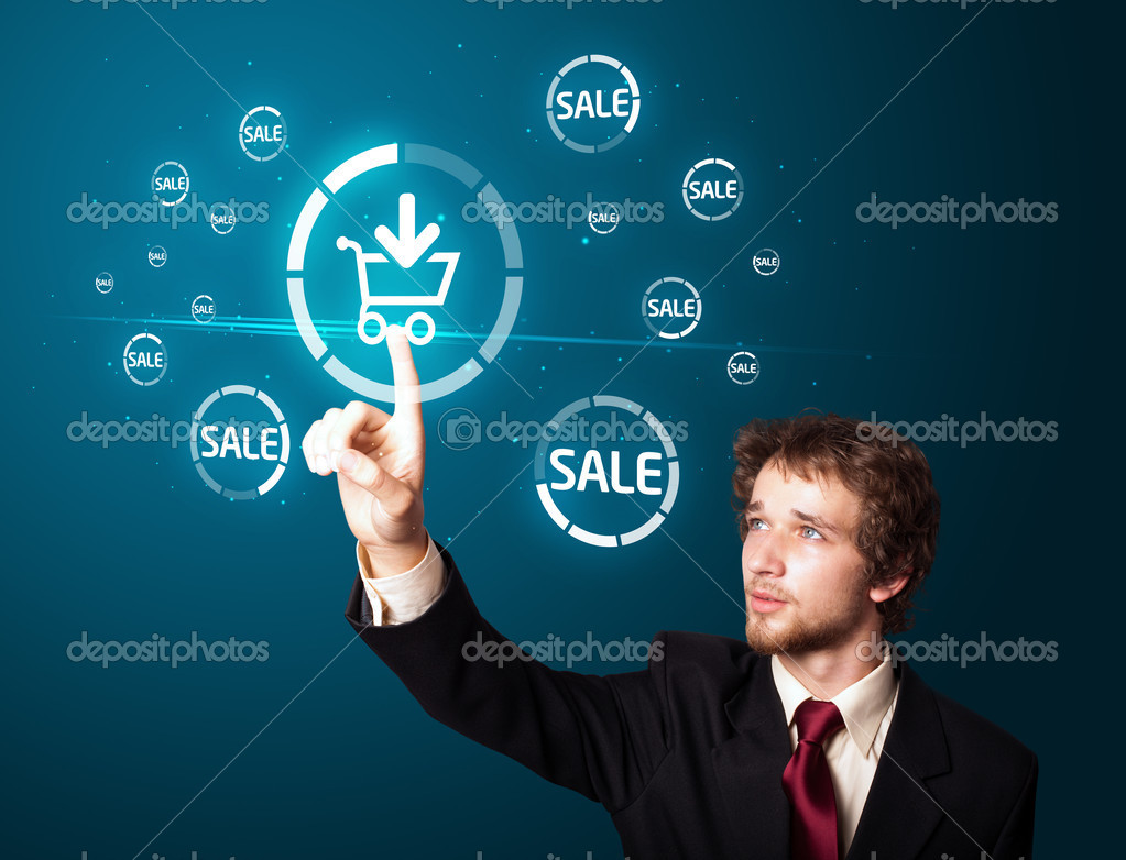 Businessman pressing promotion and shipping type of modern buttons — Stock Photo #6866813