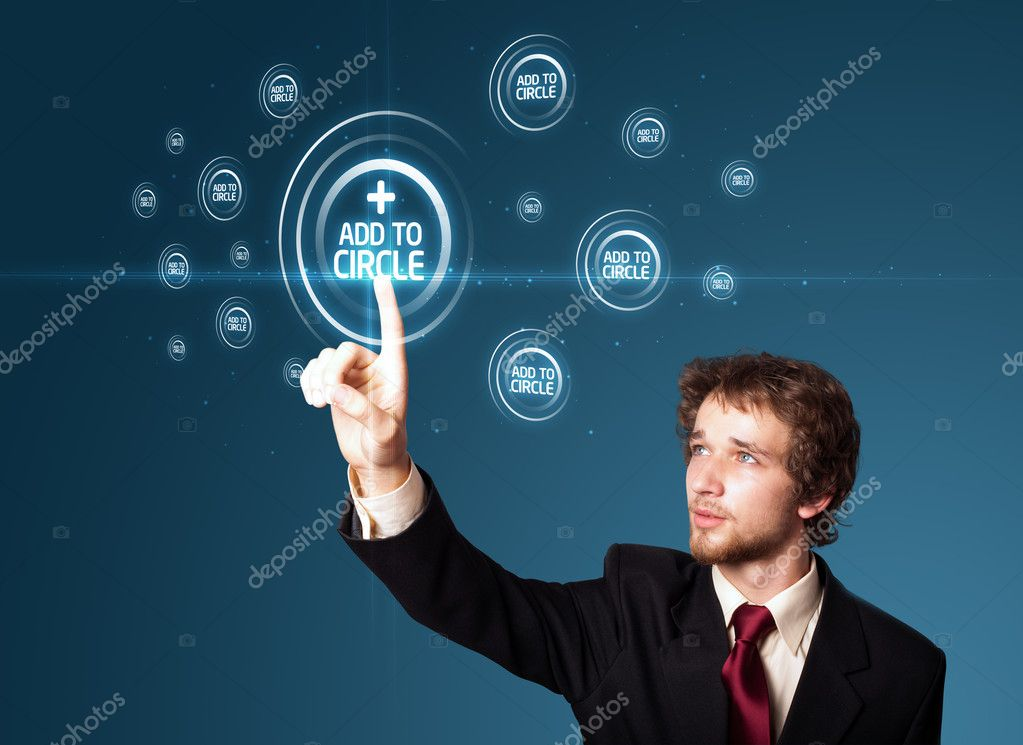 Businessman pressing modern social buttons on a virtual background — Lizenzfreies Foto #6866831