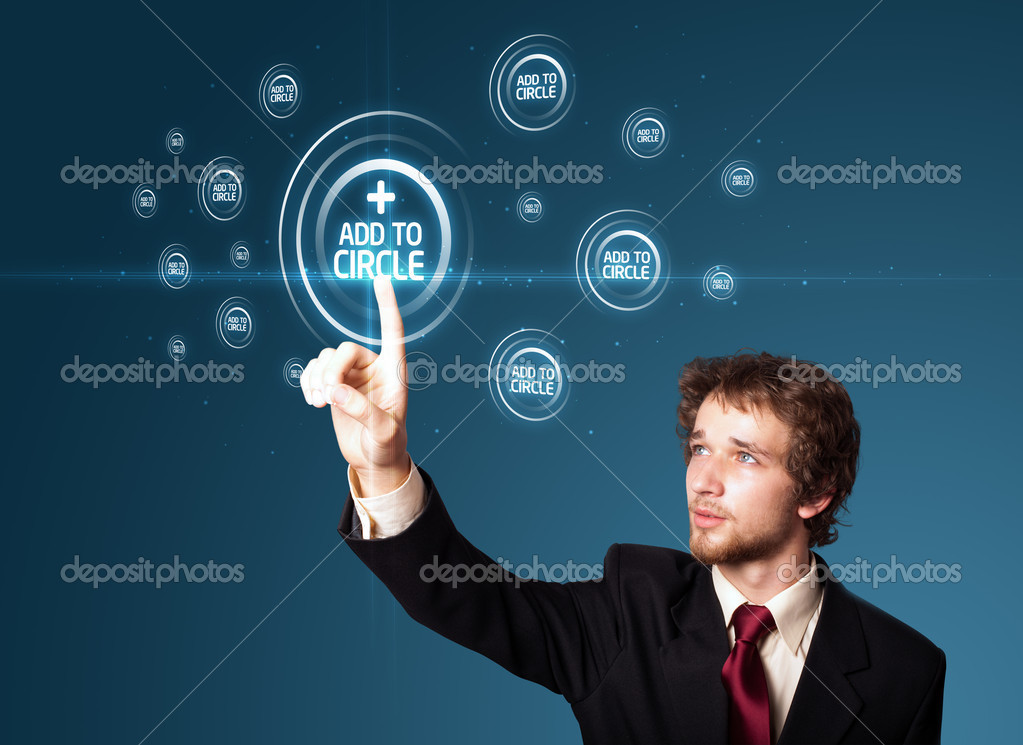 Businessman pressing modern social buttons on a virtual background — Stockfoto #6866831