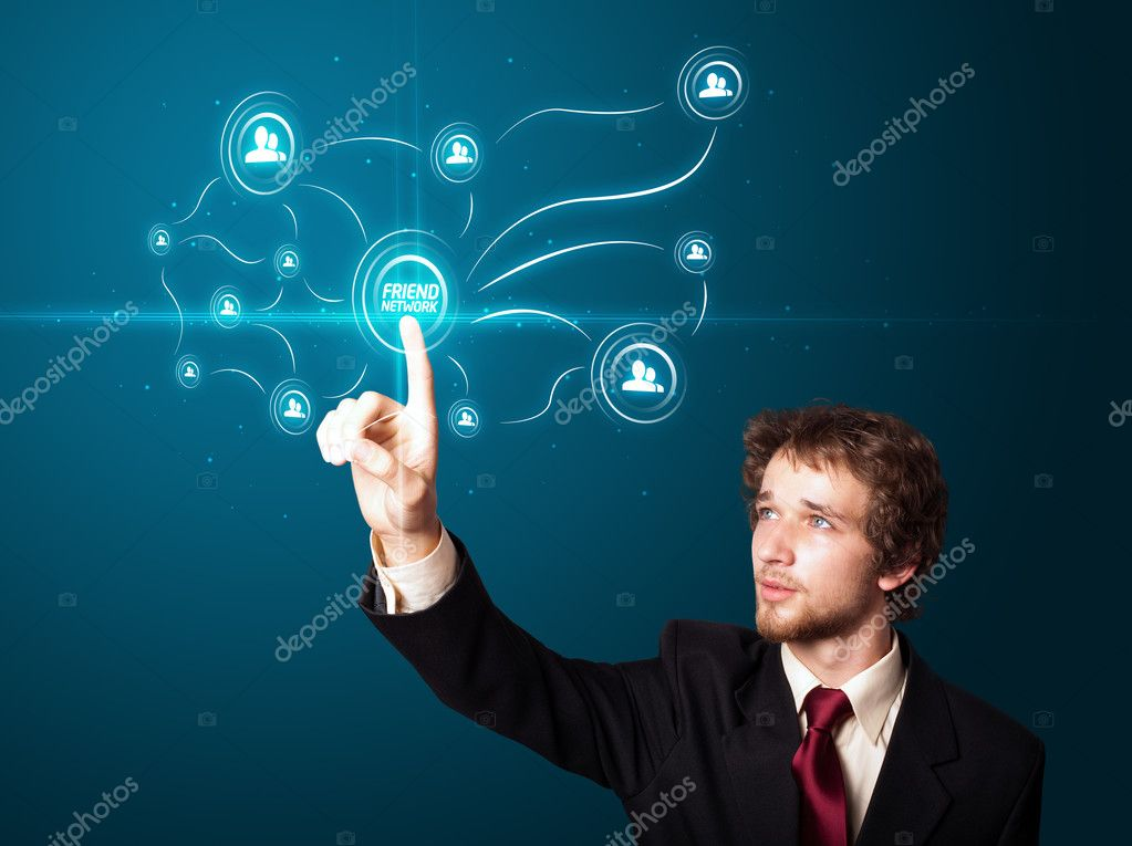 Businessman pressing modern social buttons on a virtual background — Stock Photo #6866838