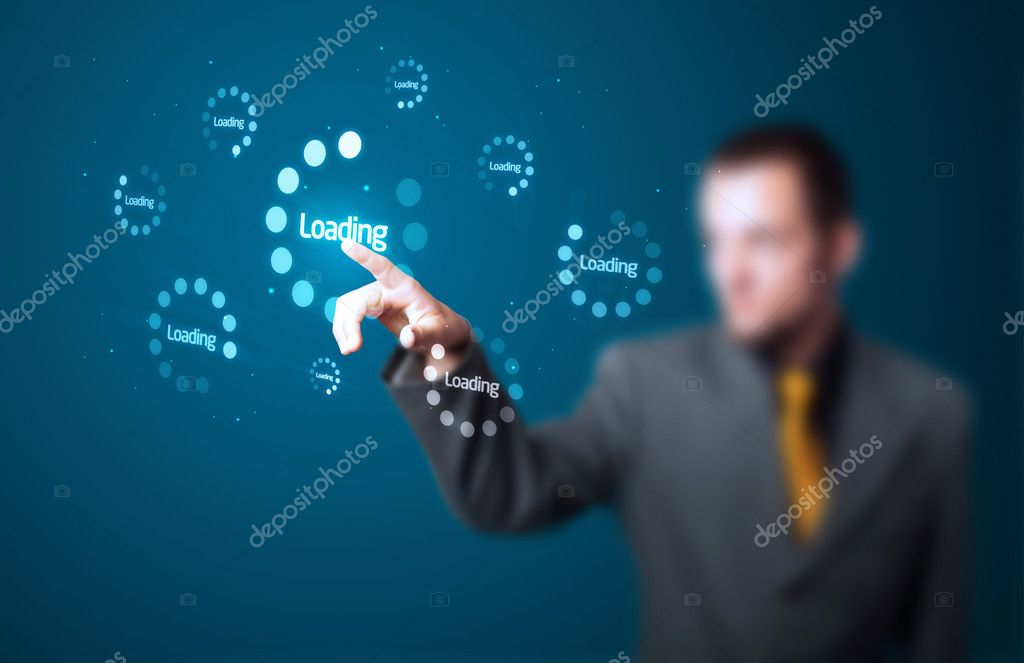 Businessman pressing simple start buttons on a virtual background — Stock Photo #6866904