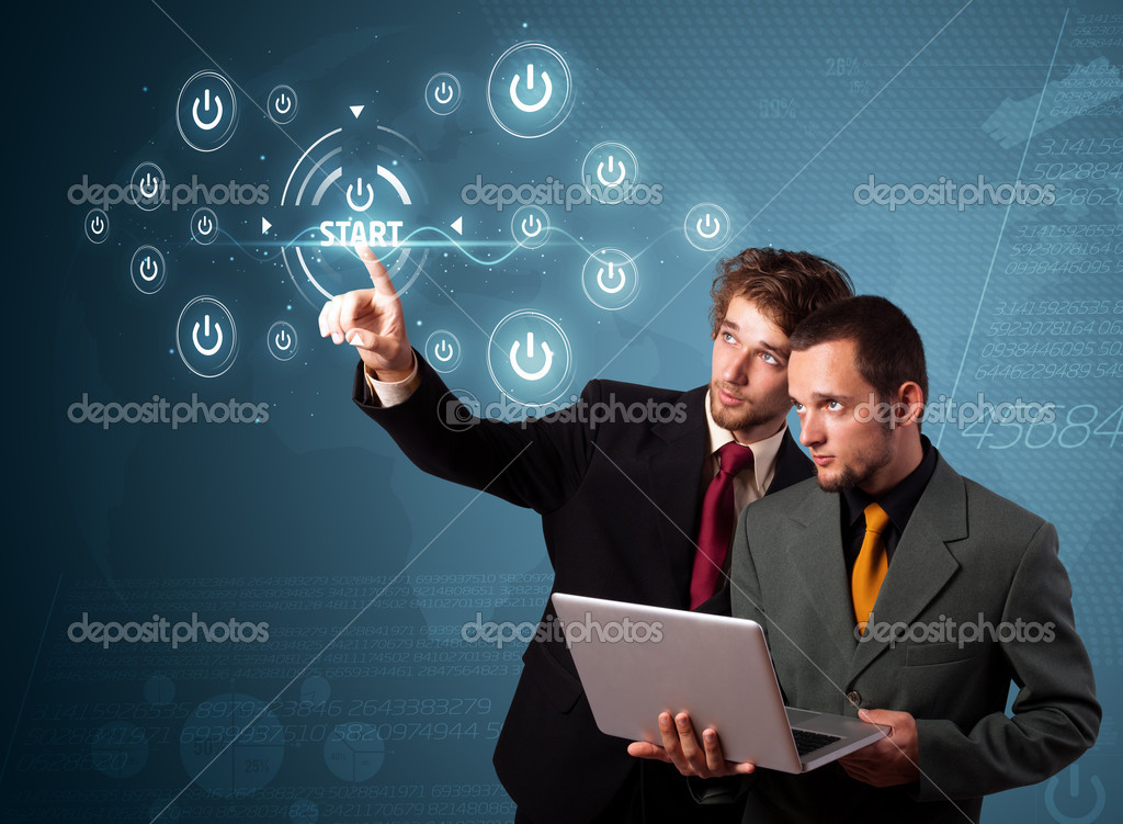 Businessman pressing simple start buttons on a virtual background  Stock Photo #6867014