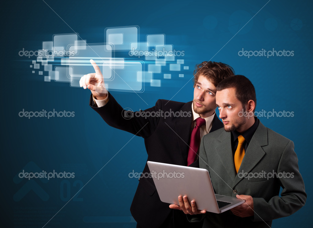 Businessman pressing high tech type of modern buttons on a virtual background — Stock Photo #6867031