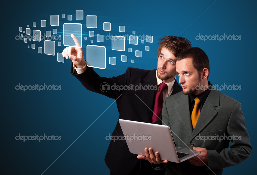 Businessman pressing high tech type of modern buttons on a virtual background — Stock Photo #6867066